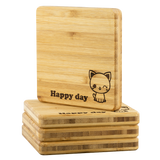 Coasters Personalized Bamboo Coaster - Happy day - Bamboo Diaries