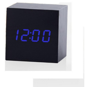 Cube LED Alarm Wood Clock-Bamboo Diaries