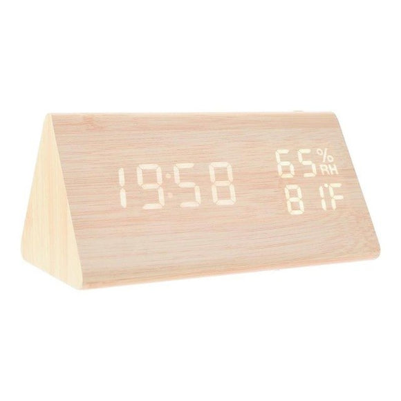 clock Wooden Digital LED Alarm Clocks - Bamboo DiariesBeige