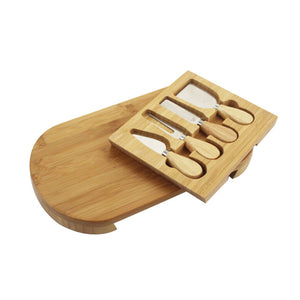Bamboo Cheese Board/ Food Serving Board Set with Cutlery and Slide-Out Drawer-Bamboo Diaries