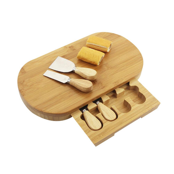Kitchenware Bamboo Cheese Board/ Food Serving Board Set with Cutlery and Slide-Out Drawer - Bamboo Diaries