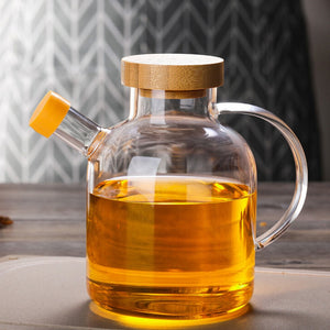 Boron Glass Oil Condiment Bottle with Bamboo Cover-Bamboo Diaries