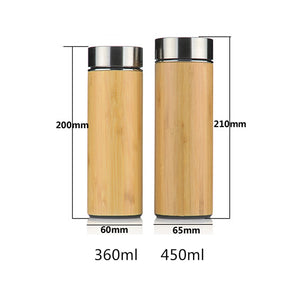 Bamboo Travel Thermos Bottles with Tea Strainer-Bamboo Diaries