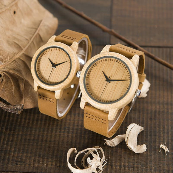 watch Aurora V1 Bamboo Leather Lovers' Wristwatches - Bamboo Diaries