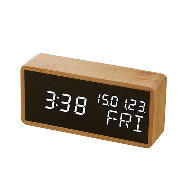 clock Bamboo Wooden Sound Control LED Alarm Clock - Bamboo Diaries