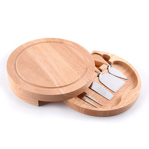 5Pcs Wooden Stainless Steel Cheese Board Set-Bamboo Diaries