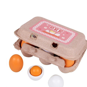 Wooden toys - 6pcs Easter Wooden Eggs