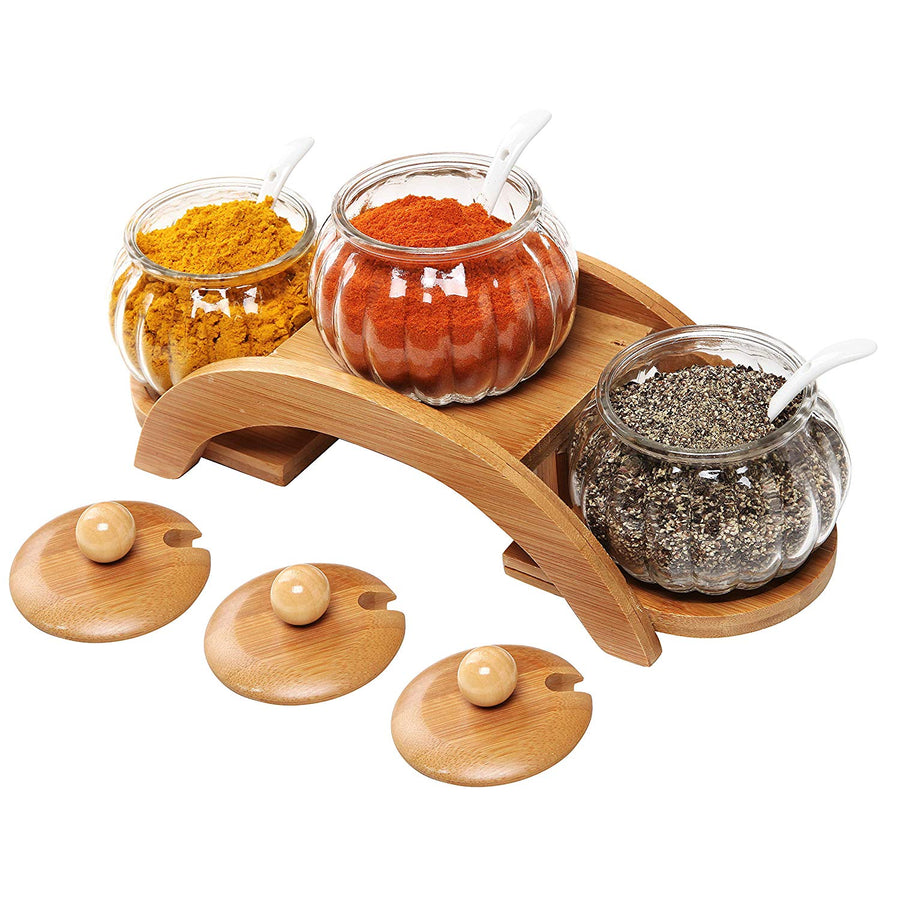 Set of 3 bamboo/glass seasoning jars and 2-layer wooden display stand-Bamboo Diaries