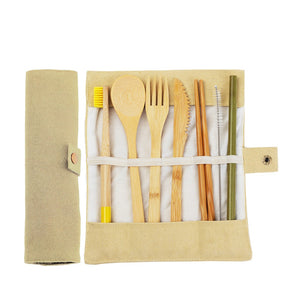 8 pcs Japanese Bamboo Cutlery Set with Bamboo Straw and Bamboo Toothbrush-Bamboo Diaries