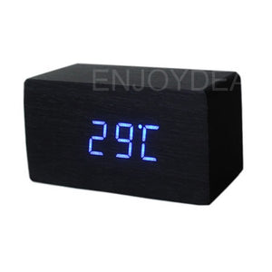 Bamboo Wooden Sound Control LED Alarm Clock-Bamboo Diaries