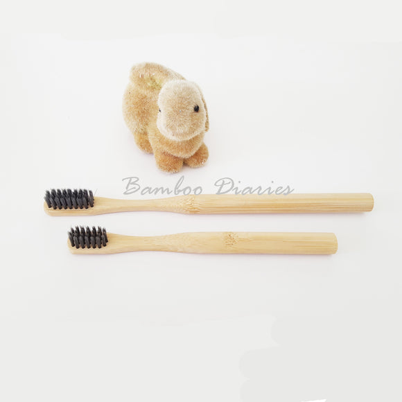 12 pcs Bamboo Toothbrushes with Charcoal Infused Bristles (Kid/Adult)