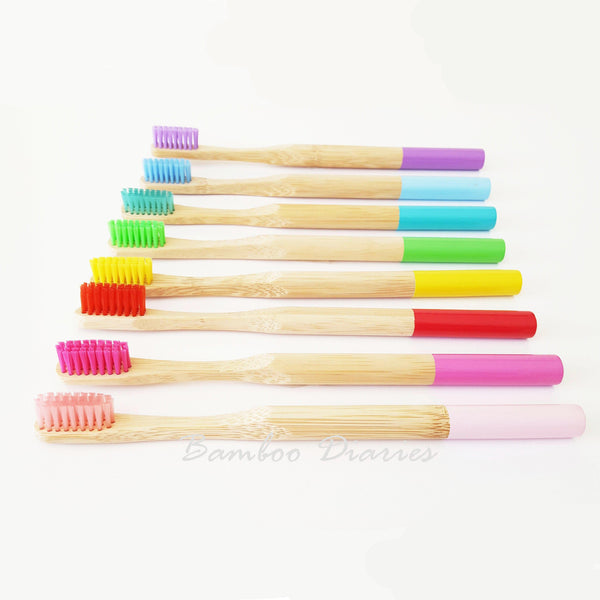 Bamboo Diaries 12pcs/lot Eco-Friendly Bamboo Toothbrushes (Multicolor)