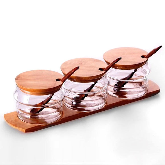 3pcs/set Spice Containers with Bamboo Lid-Bamboo Diaries