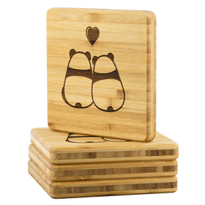 Personalized Bamboo Coaster - Panda Love-Bamboo Diaries