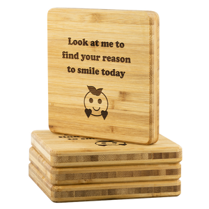 Personalized Smiley Bamboo Coaster-Bamboo Diaries