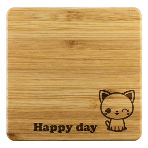 Coasters Personalized Bamboo Coaster - Happy day - Bamboo DiariesBamboo Coaster - 4pc