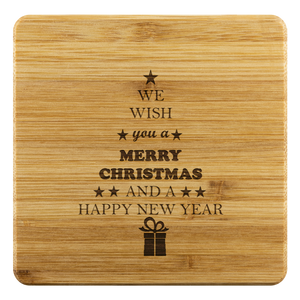 Personalized Bamboo Coaster - Merry Christmas & Happy New Year-Bamboo Diaries