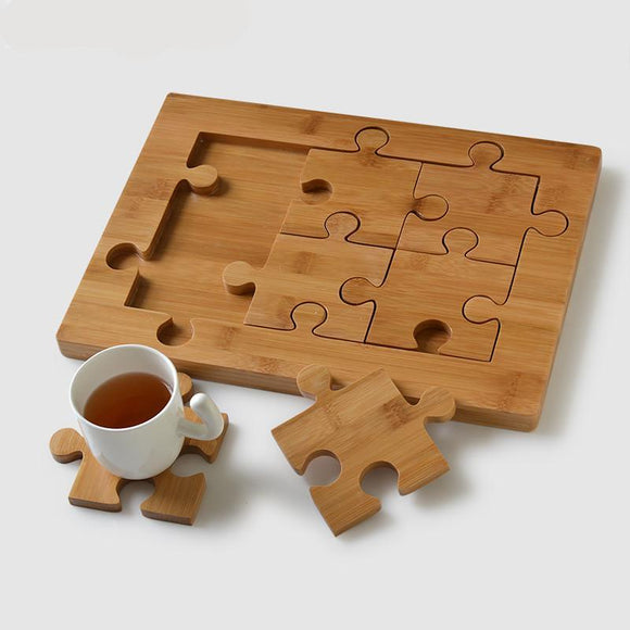 Designer Puzzle Bamboo Tea Tray and Coasters-Bamboo Diaries