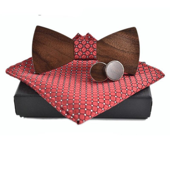 Bowtie Wooden Bow Tie Set (with Pocket Square and Cuff links) - Bamboo Diaries