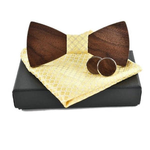 Wooden Bow Tie Set (with Pocket Square and Cuff links)-Bamboo Diaries