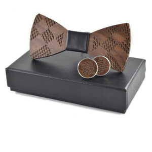 Wooden Bow Tie and Cuff links Set-Bamboo Diaries