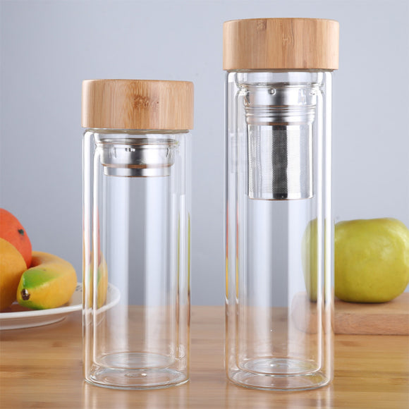 Drinkware Double Wall Glass Bottle with Infuser and Bamboo Lid - Bamboo Diaries