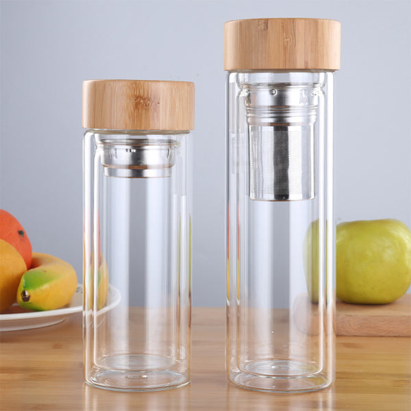 Double Wall Glass Bottle with Infuser and Bamboo Lid-Bamboo Diaries