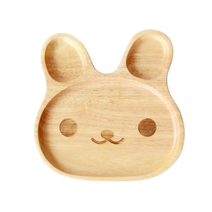 Wooden Kid Plate - Cute Rabbit-Bamboo Diaries