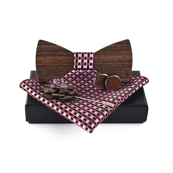 Bowtie Wooden Bow Tie Set (with Pocket Square, Brooch and Cuff links) - Bamboo Diaries