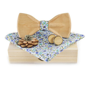 Wooden Bow Tie Set (with Pocket Square, Brooch and Cuff links)-Bamboo Diaries