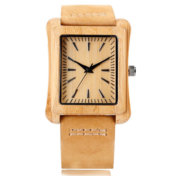 Mitch Rectangle Bamboo Wooden Watch-Bamboo Diaries