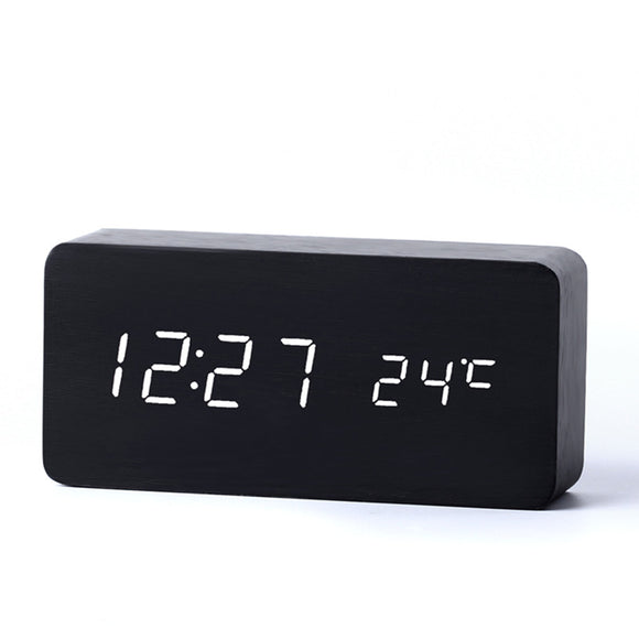 Modern Wooden Digital LED Alarm Clock (Sound control