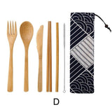Dinnerware 5 - 6 piece Japanese Bamboo Straw Cutlery Set with Storage Bag - Bamboo DiariesPackage D