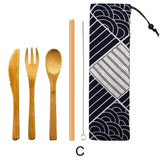 5/6 pcs Japanese Bamboo Cutlery Set with Bamboo Straw and Storage Bag-Bamboo Diaries