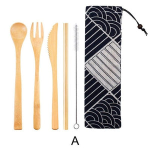 Dinnerware 5 - 6 piece Japanese Bamboo Straw Cutlery Set with Storage Bag - Bamboo Diaries