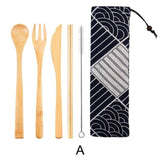 Dinnerware 5 - 6 piece Japanese Bamboo Straw Cutlery Set with Storage Bag - Bamboo DiariesPackage A
