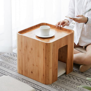 Japanese Style Tatami Tea/coffee table with 4 cushions-Bamboo Diaries