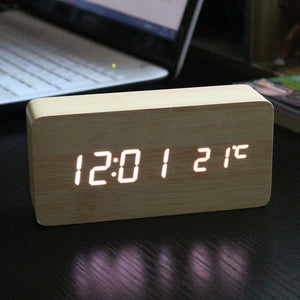 Modern Wooden Digital LED Alarm Clock (Sound control)-Bamboo Diaries