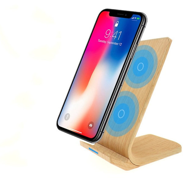 Bamboo Wood Wireless Fast Charger Stand for Apple and Android Phones-Bamboo Diaries