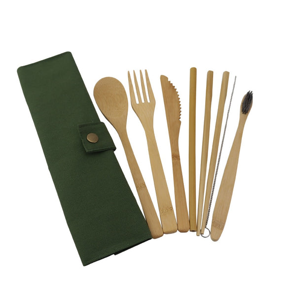 Dinnerware 8 Pcs Bamboo Flatware Set - Cutlery Straw Brush (Travelling/Camping friendly) - Bamboo DiariesArmy Green