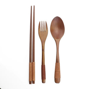 4 pcs Japanese Bamboo Cutlery Set with Storage Bag-Bamboo Diaries