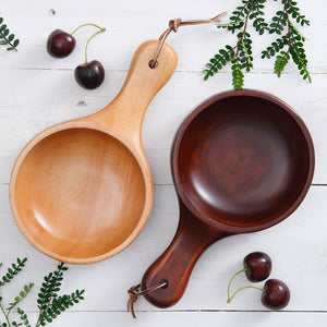 Japanese Style Wooden Salad/ Soup Bowl with Handle-Bamboo Diaries