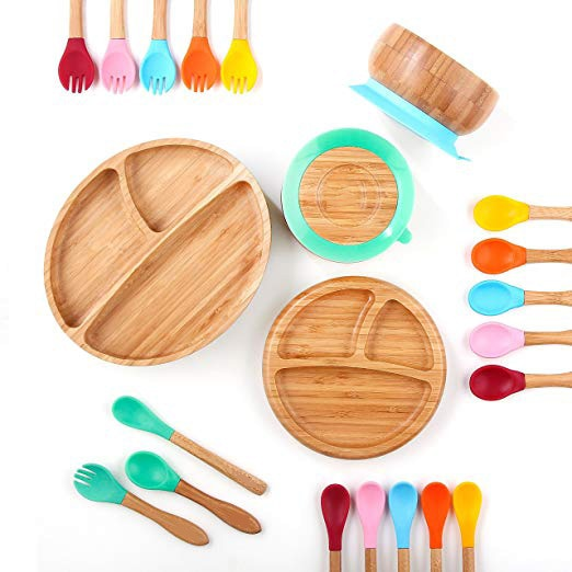 Bamboo Silicone Suction Cup Baby Plate/ Bowl/ Spoons