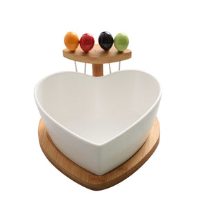 Heart Shaped Ceramic Salad Bowl With Bamboo Fork and Tray-Bamboo Diaries