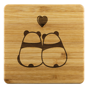 Coasters Personalized Bamboo Coaster - Panda Love - Bamboo DiariesBamboo Coaster - 4pc