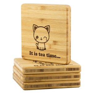 Personalized Bamboo Coaster - Tea time-Bamboo Diaries