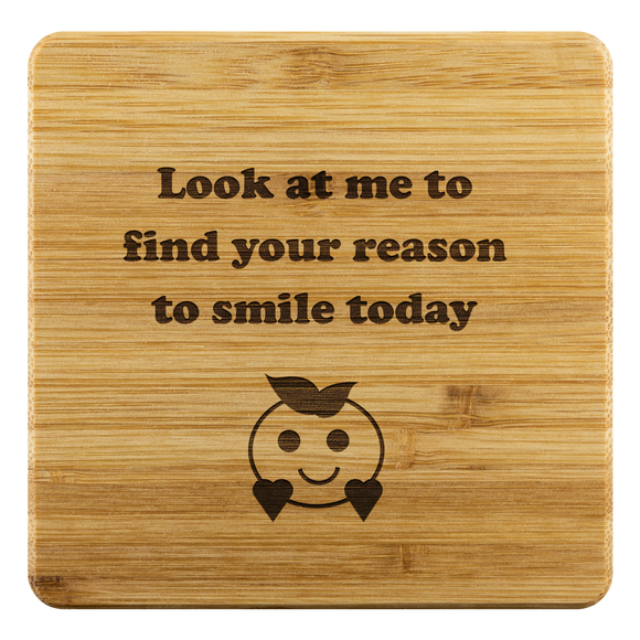 Coasters Personalized Smiley Bamboo Coaster - Bamboo DiariesBamboo Coaster - 4pc