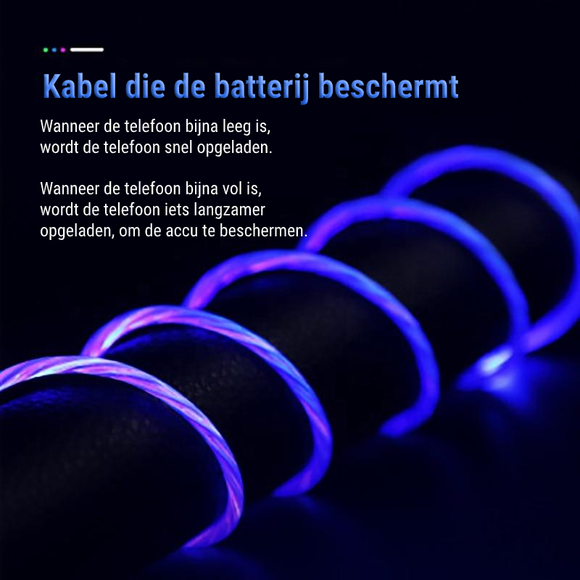 GlowCHARGE™ | Oplaadkabel Aansluiting (Micro USB, USB-C, iPhone)