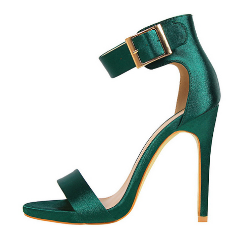 Women Classic Satin 11cm High Heels Lady Green Sandal