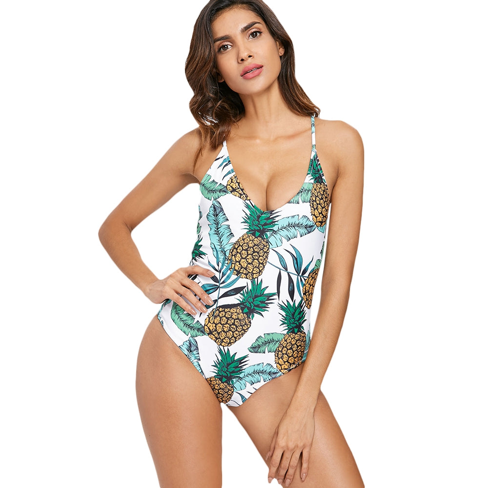 Palm Pineapple Backless Swimsuit